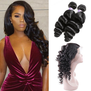 Allove Hair Brazilian Loose Wave Virgin Human Hair 2 Bundles with 360 Lace Closure : ALLOVEHAIR