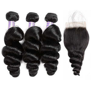 Allove Hair Buy 3 Bundles Loose Wave Hair Get 1 Free Lace Closure : ALLOVEHAIR