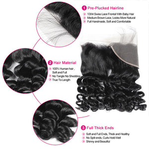 Allove Hair Brazilian Loose Wave Virgin Human Hair 3 Bundles with 13*4 Lace Frontal : ALLOVEHAIR