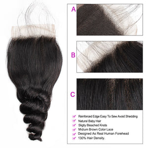 Loose Wave 4*4 Lace Closure Virgin Human Hair : ALLOVEHAIR