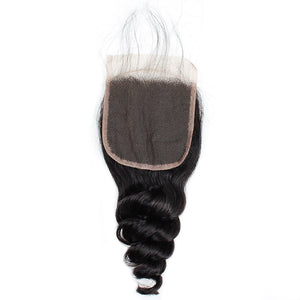 Allove Hair Peruvian Loose Wave Virgin Human Hair 4 Bundles With 4*4 Lace Closure : ALLOVEHAIR