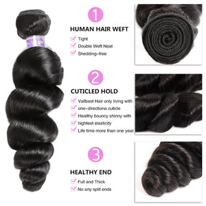 Allove Hair Peruvian Loose Wave Virgin Human Hair 2 Bundles with 360 Lace Closure : ALLOVEHAIR