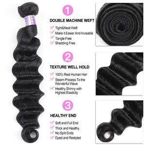 Allove Hair Peruvian Loose Deep Wave Virgin Human Hair 4 Bundles With Lace Closure : ALLOVEHAIR