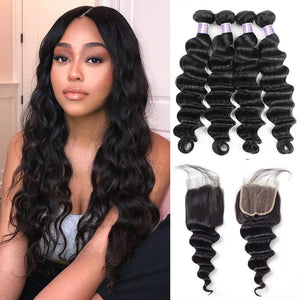 Allove Hair Brazilian Loose Deep Wave Hair 4 Bundles With Closure : ALLOVEHAIR