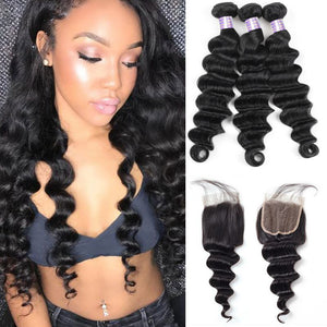 Allove Hair Malaysian Loose Deep Wave 3 Bundles with 4*4 Lace Closure Virgin Hair : ALLOVEHAIR