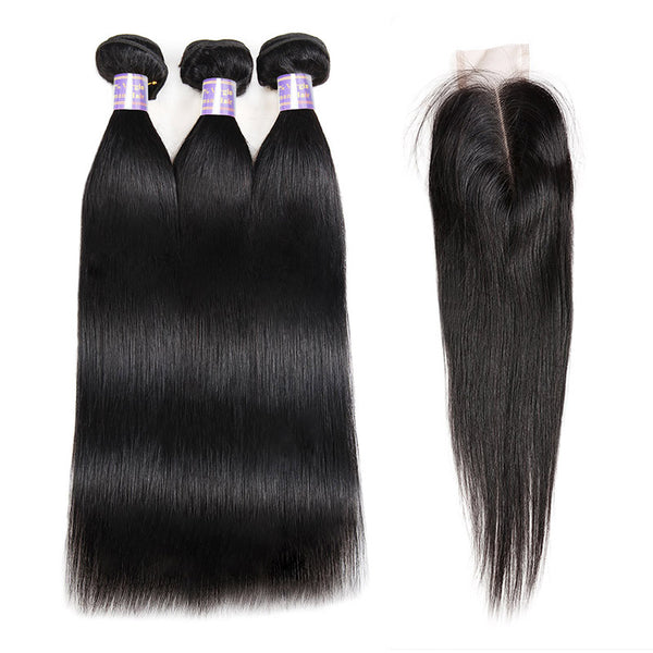 Allove Hair Straight Hair 3 Bundles With 2*4 Closure Human Hair New Arrival : ALLOVEHAIR