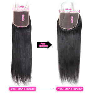 Brazilian Straight Virgin Hair 3 Bundles with 5*5 Lace Closure Allove Hair : ALLOVEHAIR