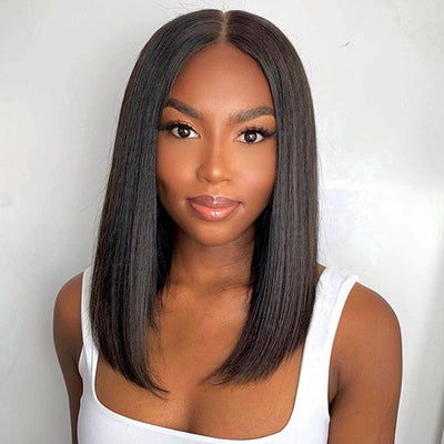 Allove Straight Hair Short Bob T-Part Wig 100% Virgin Human Hair Wigs