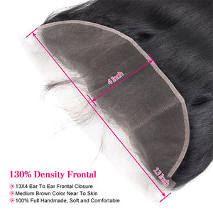 Indian Straight Hair 3 Bundles With 13*4 Lace Frontal Human Hair Extensions