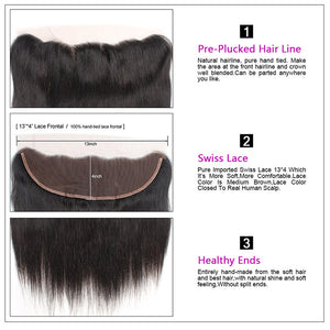 Allove Hair Peruvian Straight Hair 4 Bundles with 13*4 Lace Frontal : ALLOVEHAIR