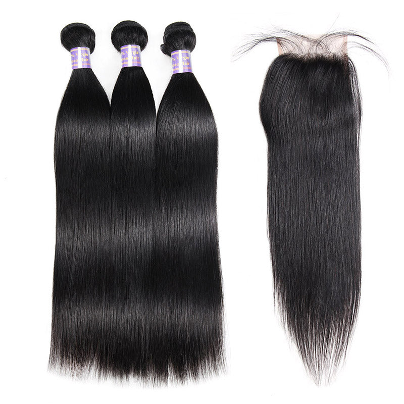 Allove Hair Peruvian Straight Hair 3 Bundles With 4*4 Lace Closure : ALLOVEHAIR