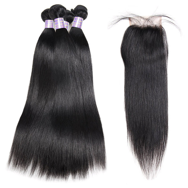 Indian Straight 4 Bundles With 4*4 Lace Closure Virgin Human Hair : ALLOVEHAIR