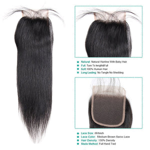 10A Remy Peruvian Straight Hair 3 Bundles With 4*4 Lace Closure With Baby Hair : ALLOVEHAIR