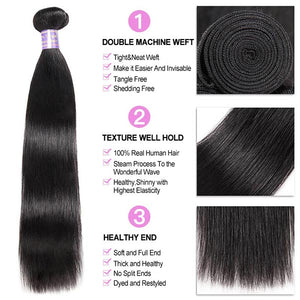 Allove Hair Indian Straight Hair 4 Bundles with 13*4 Lace Frontal Closure