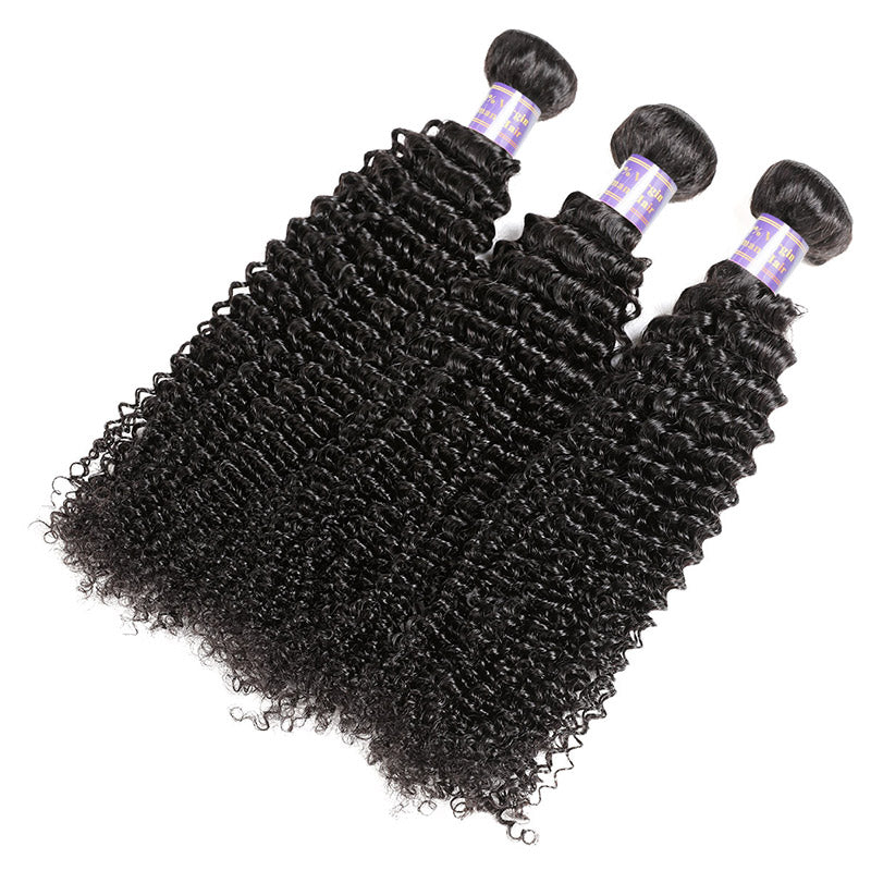 Overnight Shipping Brazilian Kinky Curly Hair 3 Bundles With Lace Closure Available For USA