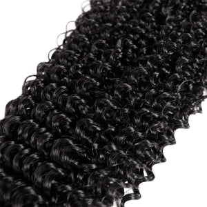 Peruvian Kinky Curly 3 Bundles with 360 Lace Closure Virgin Human Hair : ALLOVEHAIR
