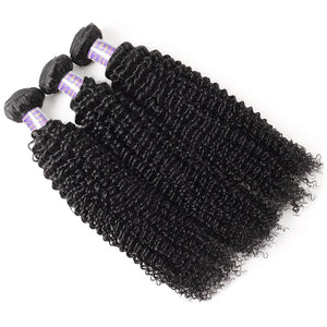 Brazilian Kinky Curly 3 Bundles with 360 Lace Closure Virgin Human Hair : ALLOVEHAIR