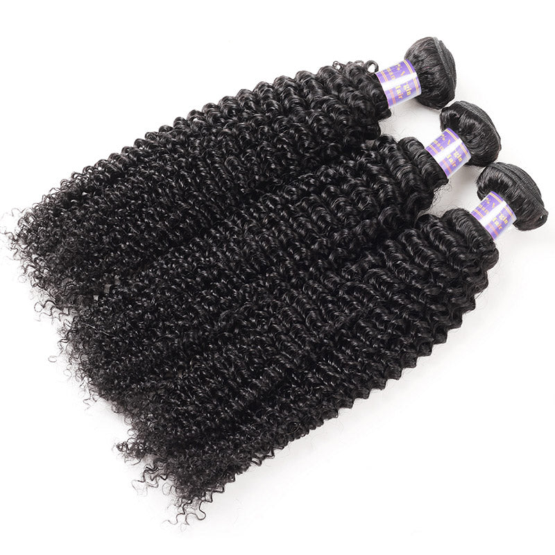 Malaysian Kinky Curly 3 Bundles with Lace Closure Virgin Human Hair : ALLOVEHAIR