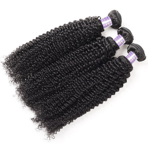 Brazilian Curly Wave 3 Bundles with Lace Frontal Closure Human Hair : ALLOVEHAIR