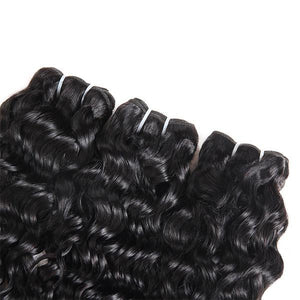 Indian Water Wave 3 Bundles with 13*4 Lace Frontal Closure Human Hair : ALLOVEHAIR