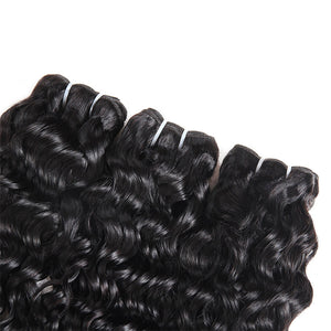 Malaysian Water Wave 3 Bundles with Lace Frontal Human Hair : ALLOVEHAIR