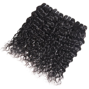 Brazilian Water Wave 3 Bundles with 13*4 Lace Frontal Virgin Human Hair : ALLOVEHAIR