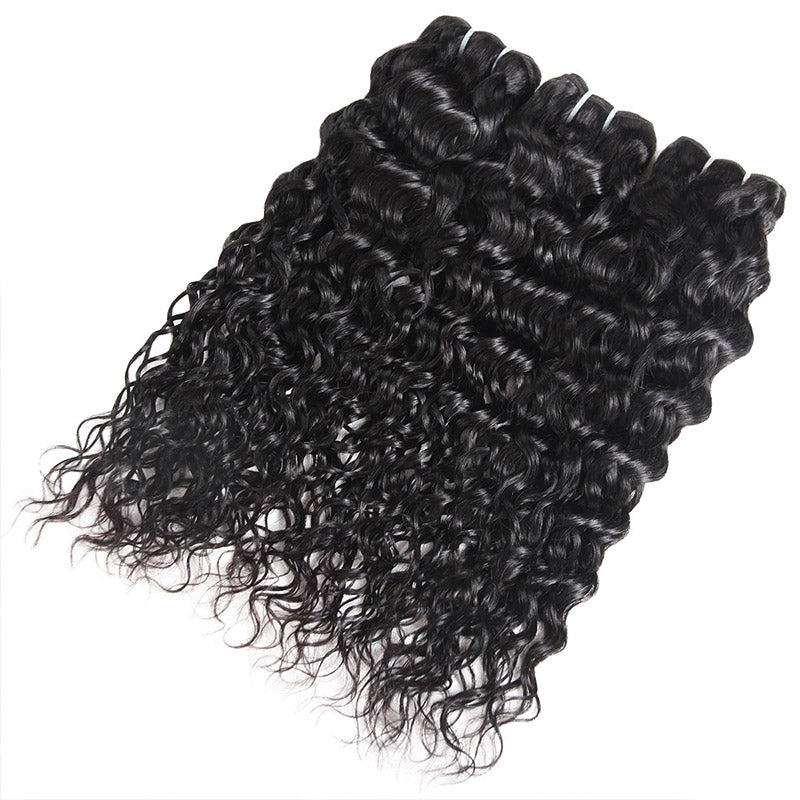 Allove Hair Brazilian Water Wave 3 Bundles With 4*4 Lace Closure : ALLOVEHAIR