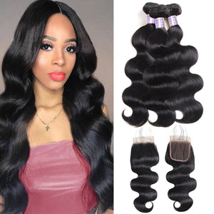 Overnight Shipping Hot Selling 3 Bundles Body Wave hair with 4*4 Lace Closure Available For USA For Free : ALLOVEHAIR