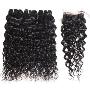 Allovehair Buy 3 Bundles Water Wave Hair Get 1 Free Lace Closure : ALLOVEHAIR