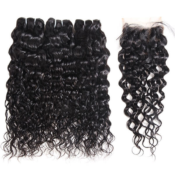 Allove Hair Buy 3 Bundles Water Wave Hair Get 1 Free Lace Closure : ALLOVEHAIR