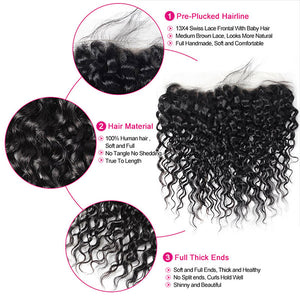 Malaysian Water Wave 3 Bundles with 13*4 Lace Frontal Human Hair