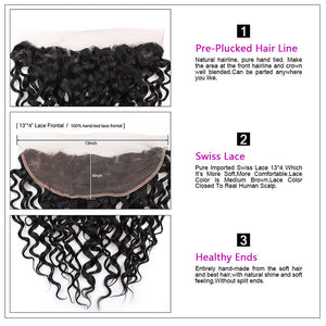 Brazilian Water Wave 4 Bundles With Lace Frontal Closure Human Hair : ALLOVEHAIR