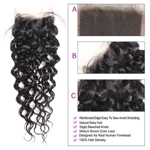 8A Grade Water Wave 4*4 Lace Closure Virgin Human Hair : ALLOVEHAIR
