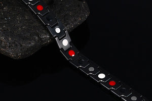 AUSTIN - Black Stainless Steel 4 Elements Magnetic Therapy Bracelet