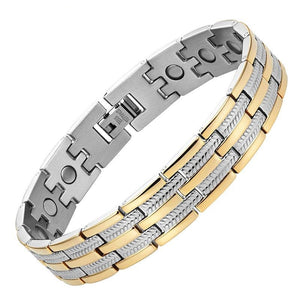 BRONX - Gold & Silver Stainless Steel Magnetic Therapy Bracelet