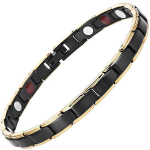 CHEYENNE - Black & Gold Trim 4 Elements Magnetic Therapy Bracelet