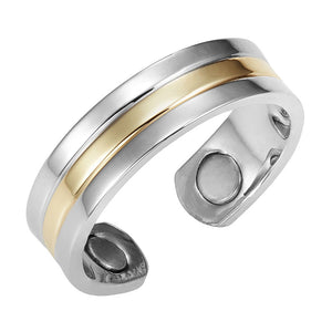 BAILEY - Dual Toned Silver & Golden Magnetic Therapy Resizable Ring