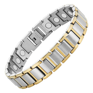 DAYTON - Gold & Silver Stainless Steel Magnetic Therapy Bracelet