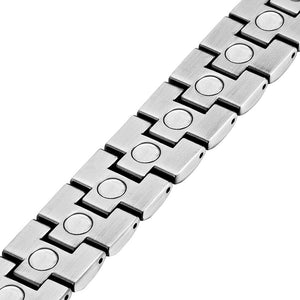 FREMONT - Brushed Silver Toned Magnetic Therapy Bracelet
