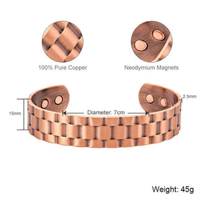 HAMILTON - Antique Copper Magnetic Therapy Bracelet Cuff