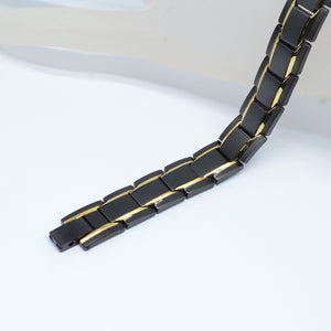 MEMPHIS - Black & Golden Stainless Steel 4 Elements Magnetic Therapy Bracelet