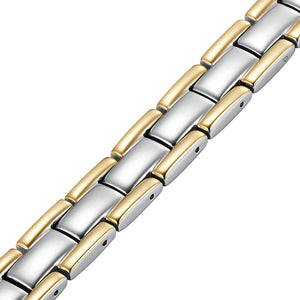 WINSTON - Gold & Silver Stainless Steel Magnetic Therapy Bracelet