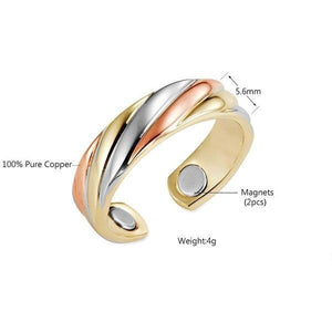 SHARON - Tri-Toned Copper Magnetic Therapy Resizable Ring
