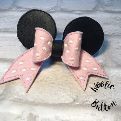 Pink spotty teddy Cheer Bow