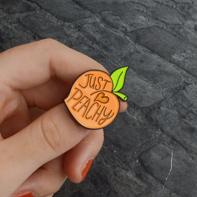 Pin Badge- Just Peachy