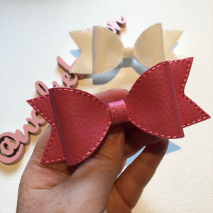 Pink Leatherette Bow