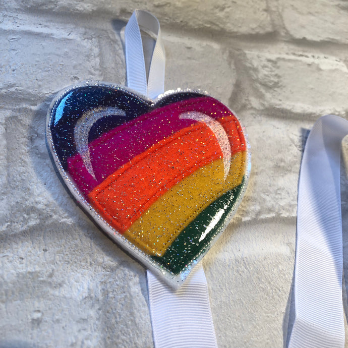 Rainbow Heart Bobble and Headband Holder
