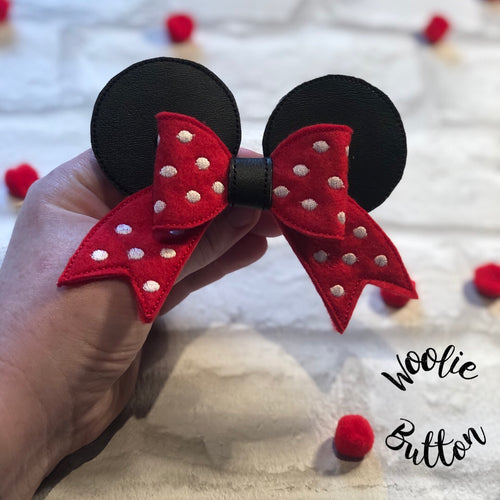 Red Mouse Ear Cheer Bow