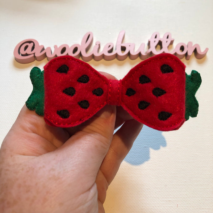 Sassy Strawberry Felt Bow