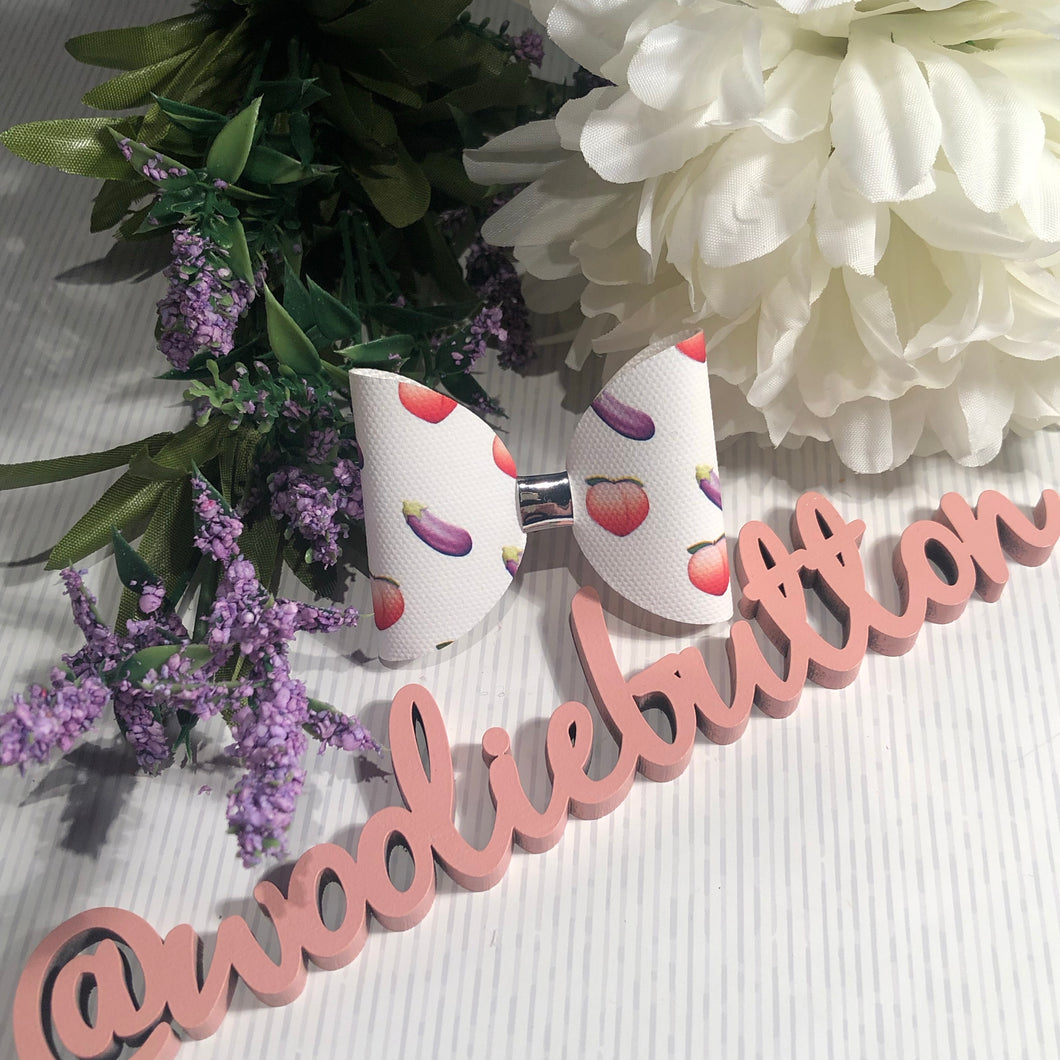 Peach and Aubergine Bow